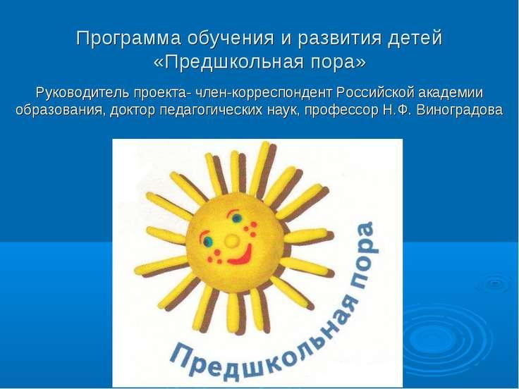 Программа обучения и развития детей «Предшкольная пора» Руководитель проекта-...