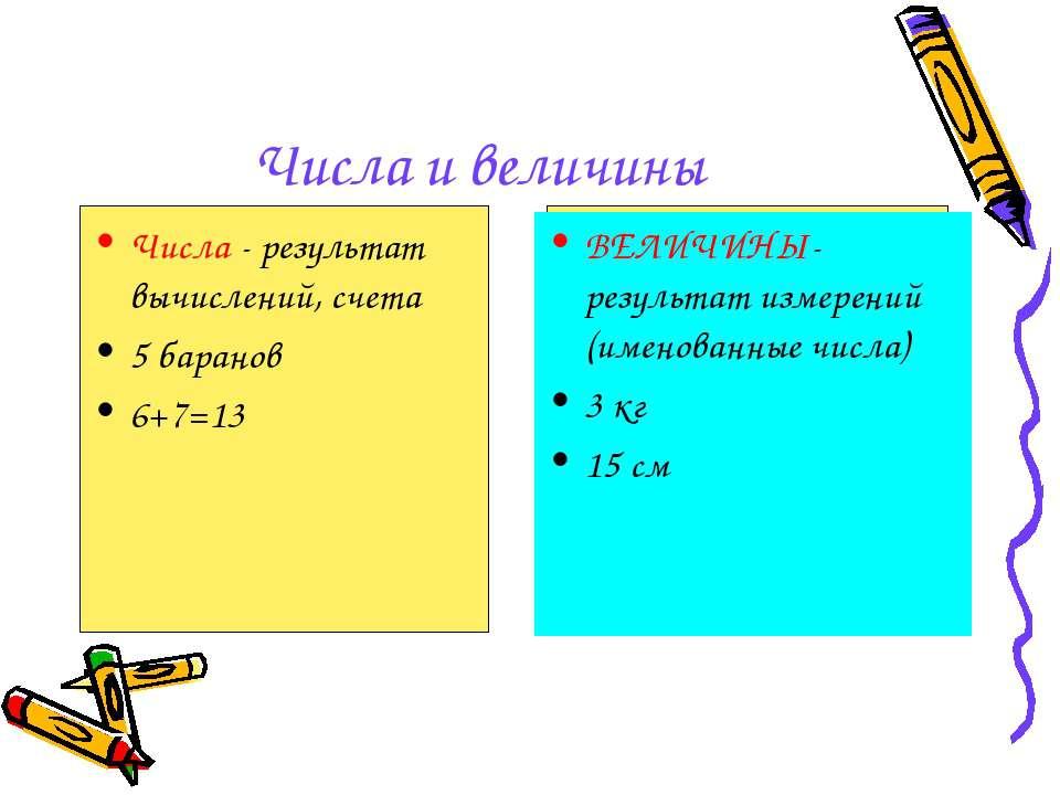 Числа и величины Числа - результат вычислений, счета 5 баранов 6+7=13 ВЕЛИЧИН...