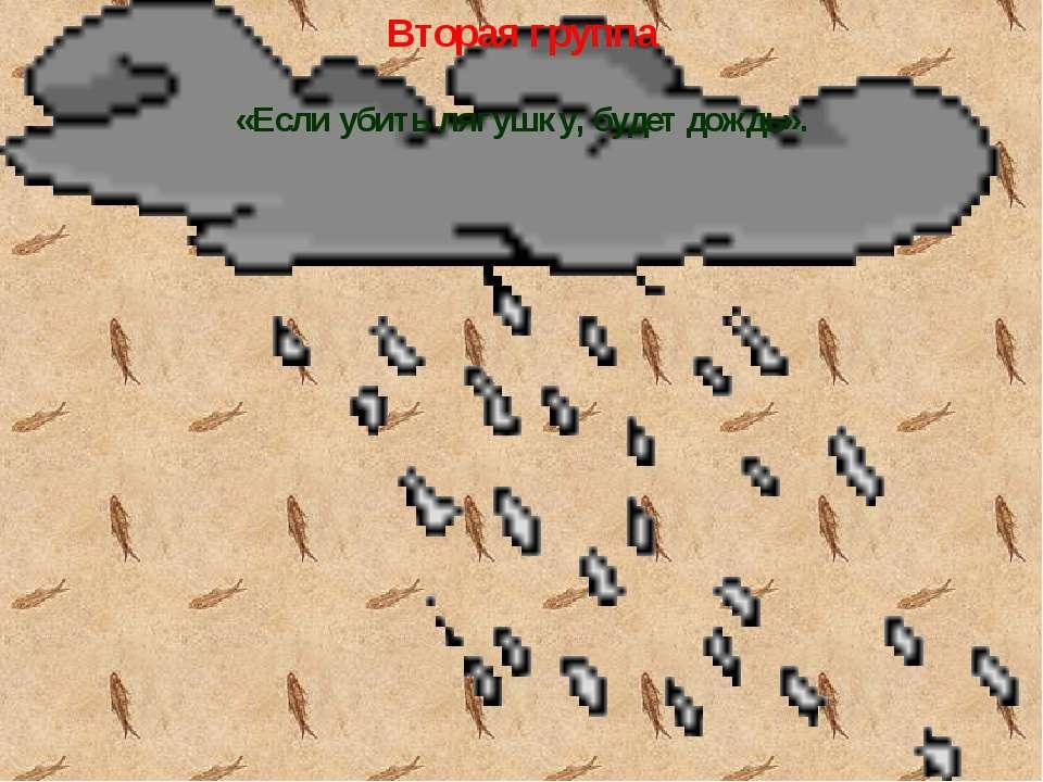 Вторая группа «Если убить лягушку, будет дождь».