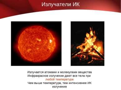 Излучатели ИК Излучается атомами и молекулами вещества Инфракрасное излучение...