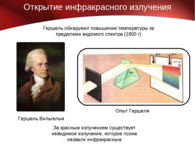 Открытие инфракрасного излучения За красным излучением существует невидимое и...