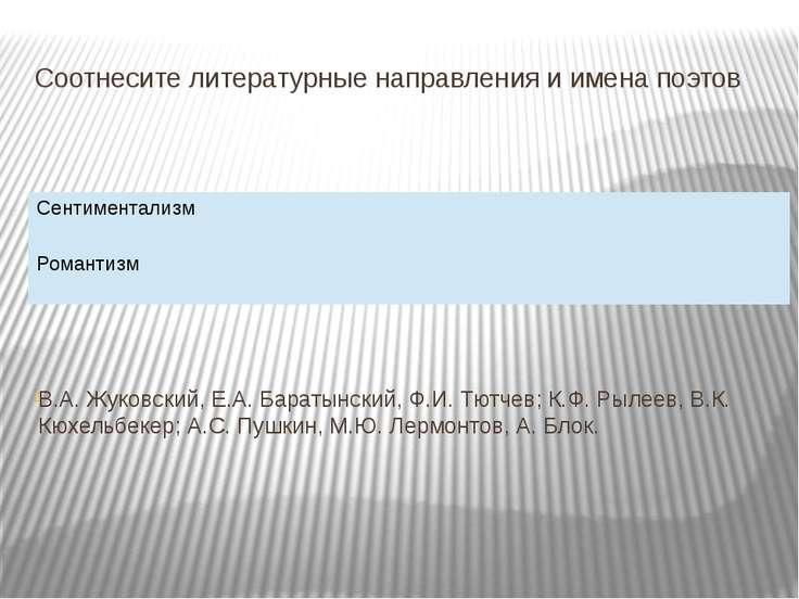 Соотнесите литературные направления и имена поэтов В.А. Жуковский, Е.А. Барат...