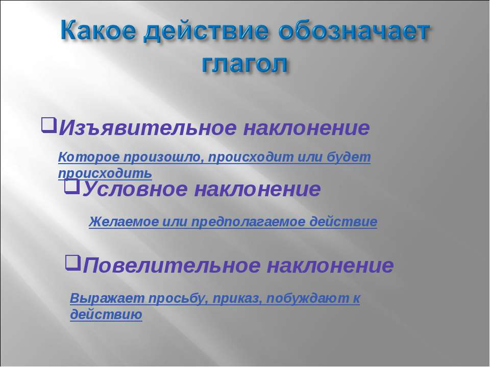 Изъявительное наклонение Которое произошло, происходит или будет происходить ...