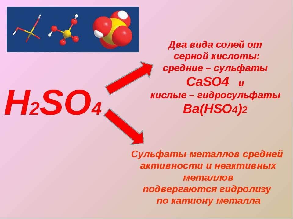 Н2SO4 Два вида солей от серной кислоты: средние – сульфаты CaSO4 и кислые – г...