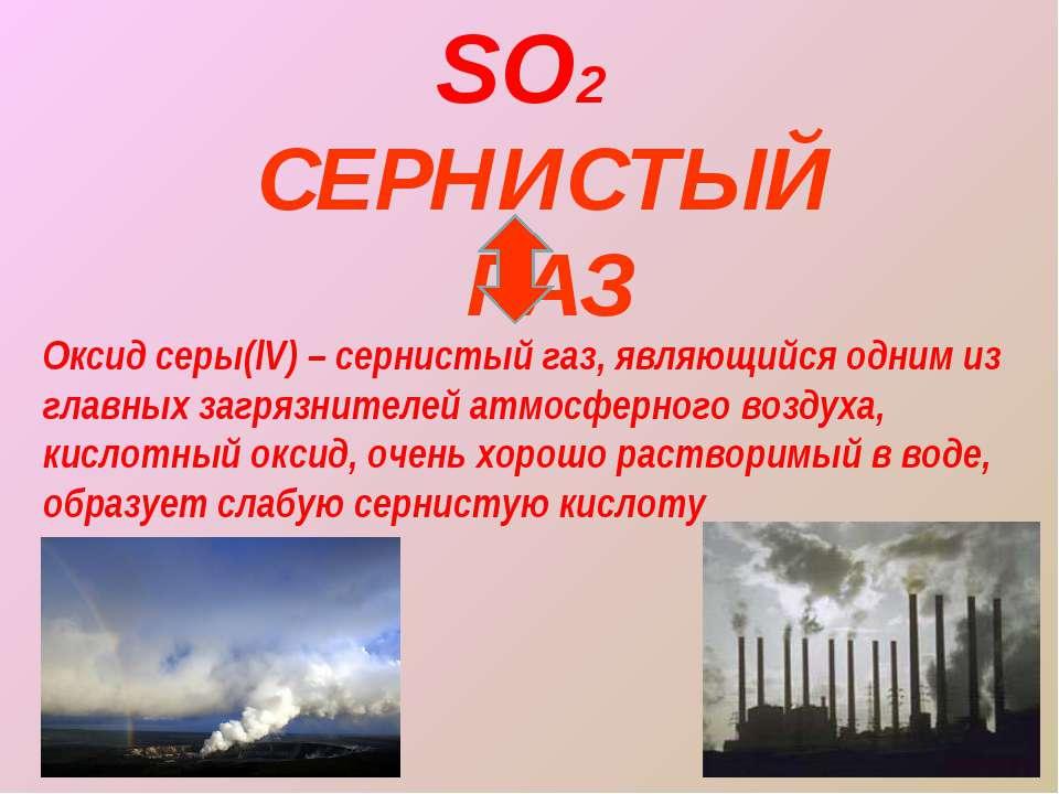 СЕРНИСТЫЙ ГАЗ SO2 Оксид серы(lV) – сернистый газ, являющийся одним из главных...