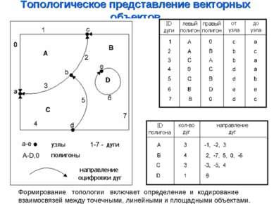 Топологическое представление векторных объектов Формирование топологии включа...