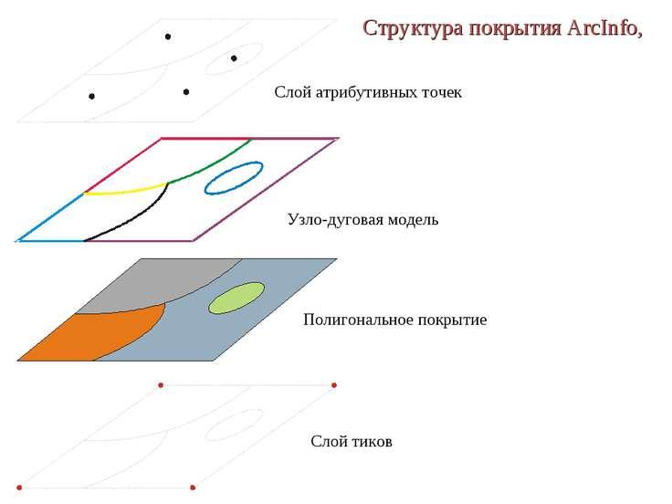 Структура покрытия ArcInfo, Слой атрибутивных точек Узло-дуговая модель Полиг...