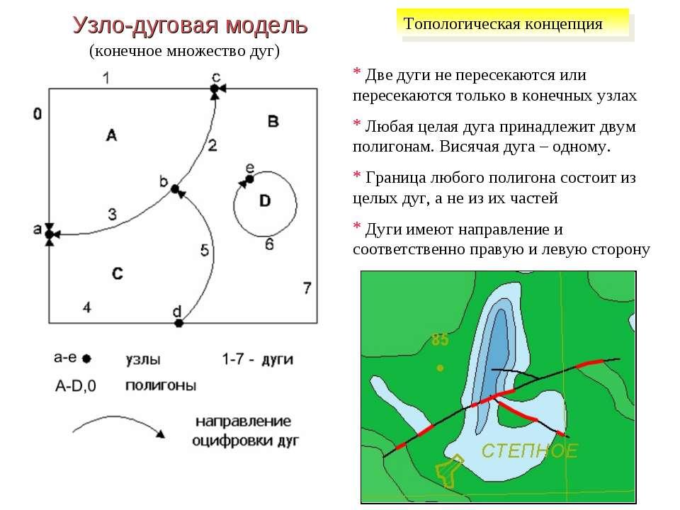 Узло-дуговая модель (конечное множество дуг) Две дуги не пересекаются или пер...