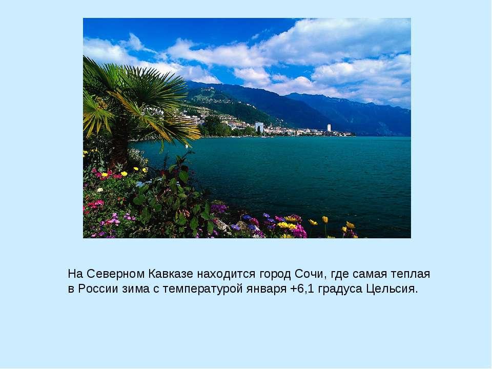 На Северном Кавказе находится город Сочи, где самая теплая в России зима с те...