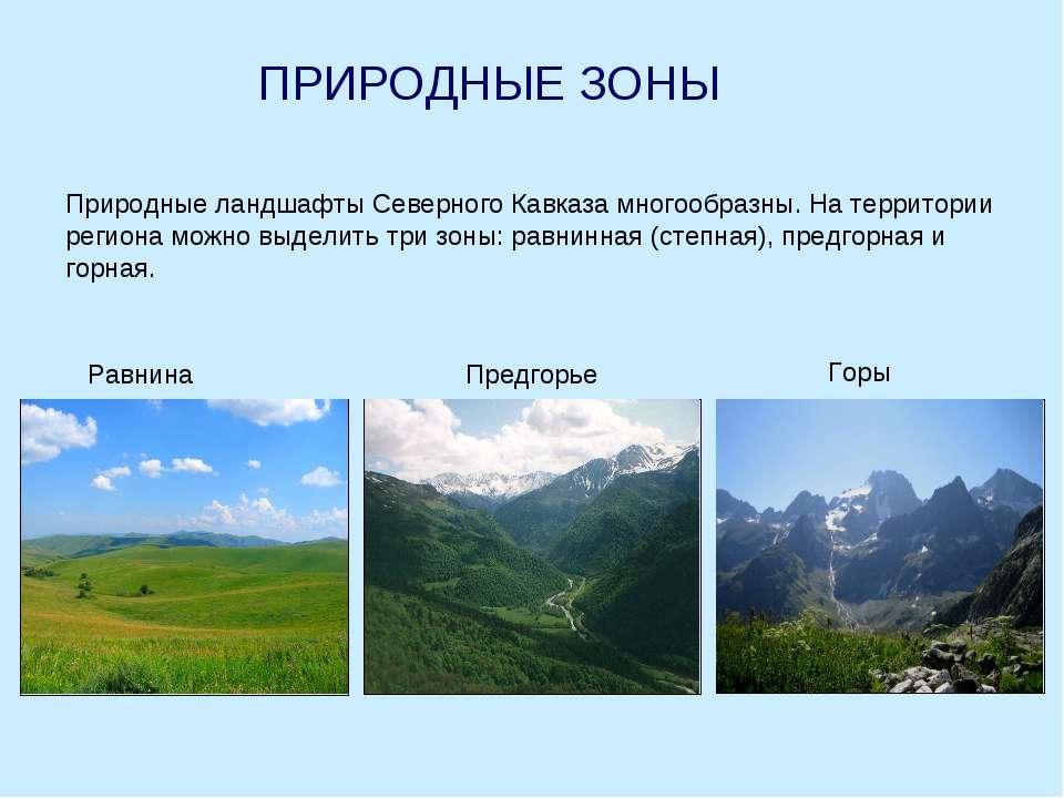 ПРИРОДНЫЕ ЗОНЫ Природные ландшафты Северного Кавказа многообразны. На террито...