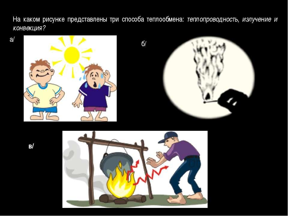 На каком рисунке представлены три способа теплообмена: теплопроводность, излу...