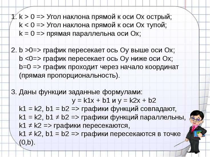 k > 0 => Угол наклона прямой к оси Ох острый; k < 0 => Угол наклона прямой к ...