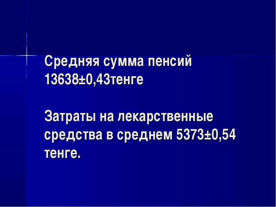 Средняя сумма пенсий 13638±0,43тенге Затраты на лекарственные средства в сред...