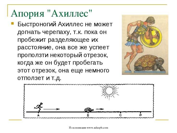 """Апория """"Ахиллес"""" Быстроногий Ахиллес не может догнать черепаху, т.к. пока он ..."""