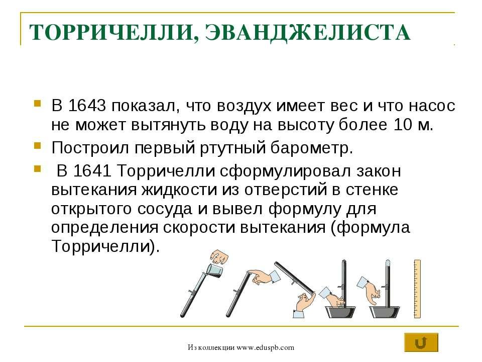 ТОРРИЧЕЛЛИ, ЭВАНДЖЕЛИСТА В 1643 показал, что воздух имеет вес и что насос не ...