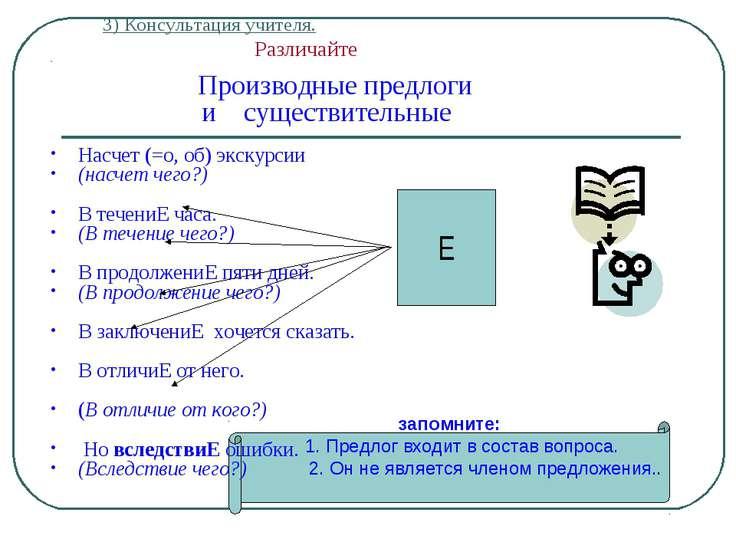 3) Консультация учителя. Различайте Производные предлоги и существительные На...