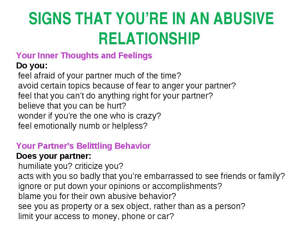 SIGNS THAT YOU'RE IN AN ABUSIVE RELATIONSHIP Your Inner Thoughts and Feelings...