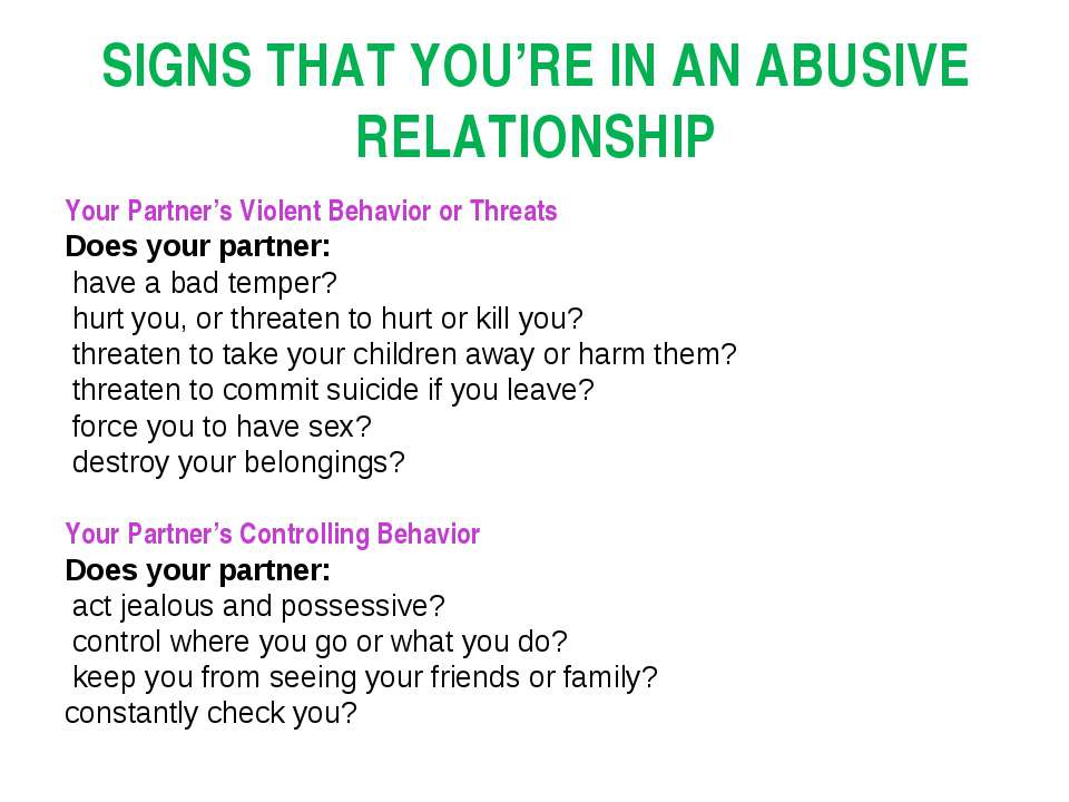 SIGNS THAT YOU'RE IN AN ABUSIVE RELATIONSHIP Your Partner's Violent Behavior ...