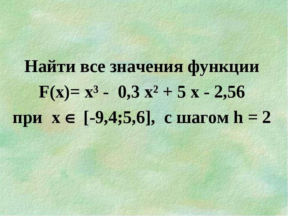 Найти все значения функции F(х)= х³ - 0,3 х² + 5 х - 2,56 при х [-9,4;5,6], c...