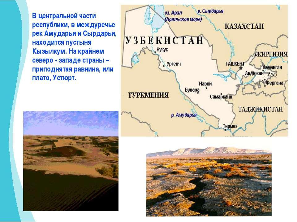 В центральной части республики, в междуречье рек Амударьи и Сырдарьи, находит...