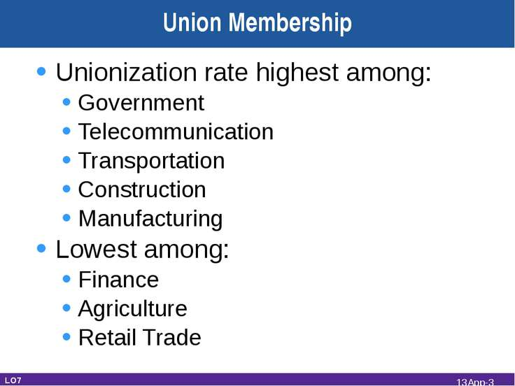 Unionization rate highest among: Government Telecommunication Transportation ...