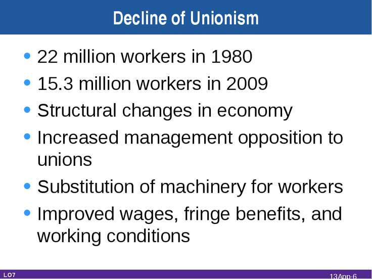 Decline of Unionism 22 million workers in 1980 15.3 million workers in 2009 S...