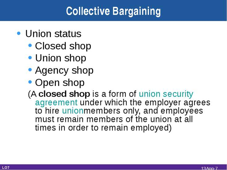 Collective Bargaining Union status Closed shop Union shop Agency shop Open sh...