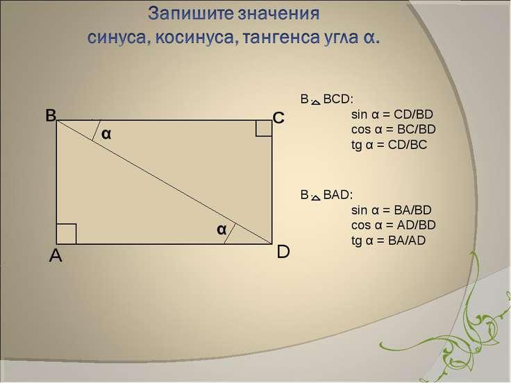 в С А D В BCD: sin α = CD/BD cos α = BC/BD tg α = CD/BC В BАD: sin α = BA/BD ...