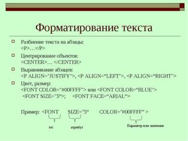 Форматирование текста Разбиение текста на абзацы: … Центрирование объектов: …...