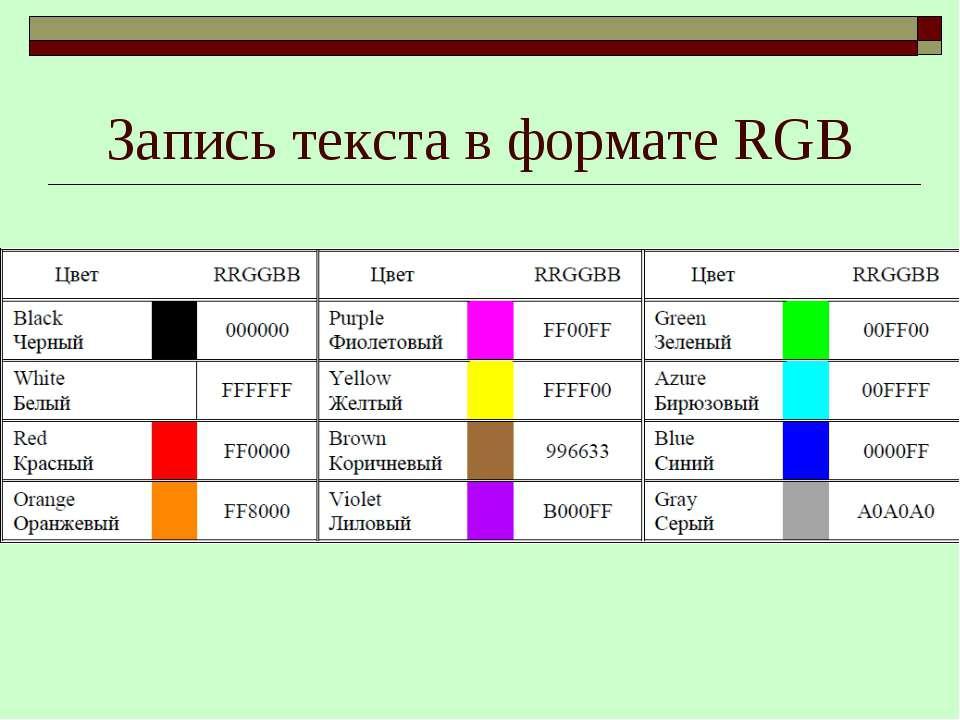 Запись текста в формате RGB
