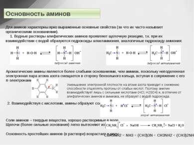 Основность аминов Для аминов характерны ярко выраженные основные свойства (за...