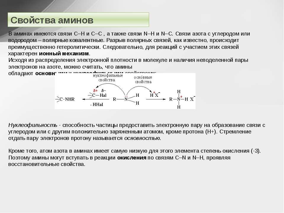 Свойства аминов В аминах имеются связи С–Н и С–C , а также связиN–HиN–C. С...