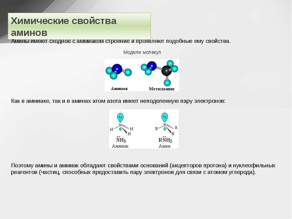 Химические свойства аминов Амины имеют сходное с аммиаком строение и проявляю...