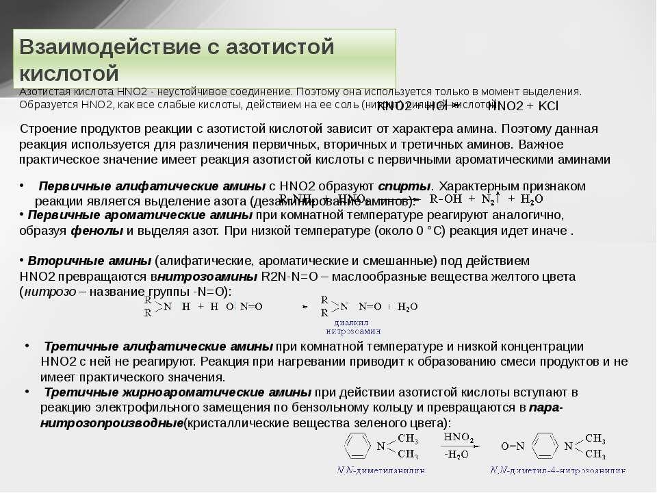 Взаимодействие с азотистой кислотой Азотистая кислота HNO2- неустойчивое сое...