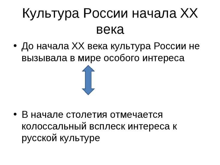 Культура России начала XX века До начала XX века культура России не вызывала ...