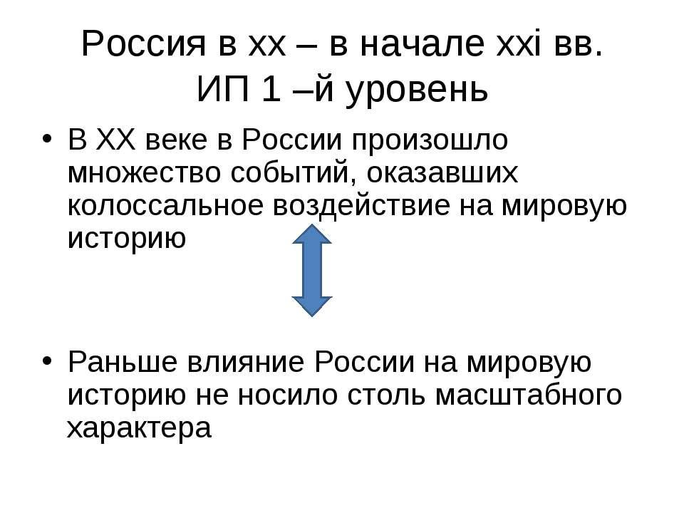 Россия в xx – в начале xxi вв. ИП 1 –й уровень В XX веке в России произошло м...