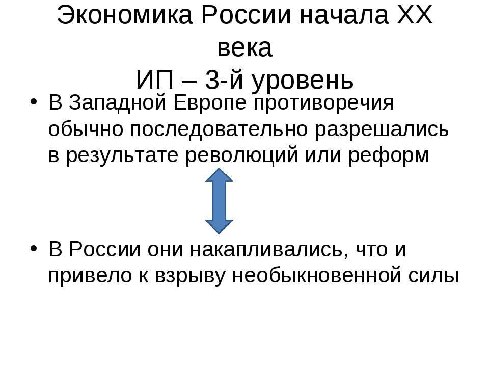 Экономика России начала XX века ИП – 3-й уровень В Западной Европе противореч...