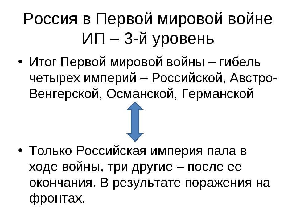 Россия в Первой мировой войне ИП – 3-й уровень Итог Первой мировой войны – ги...