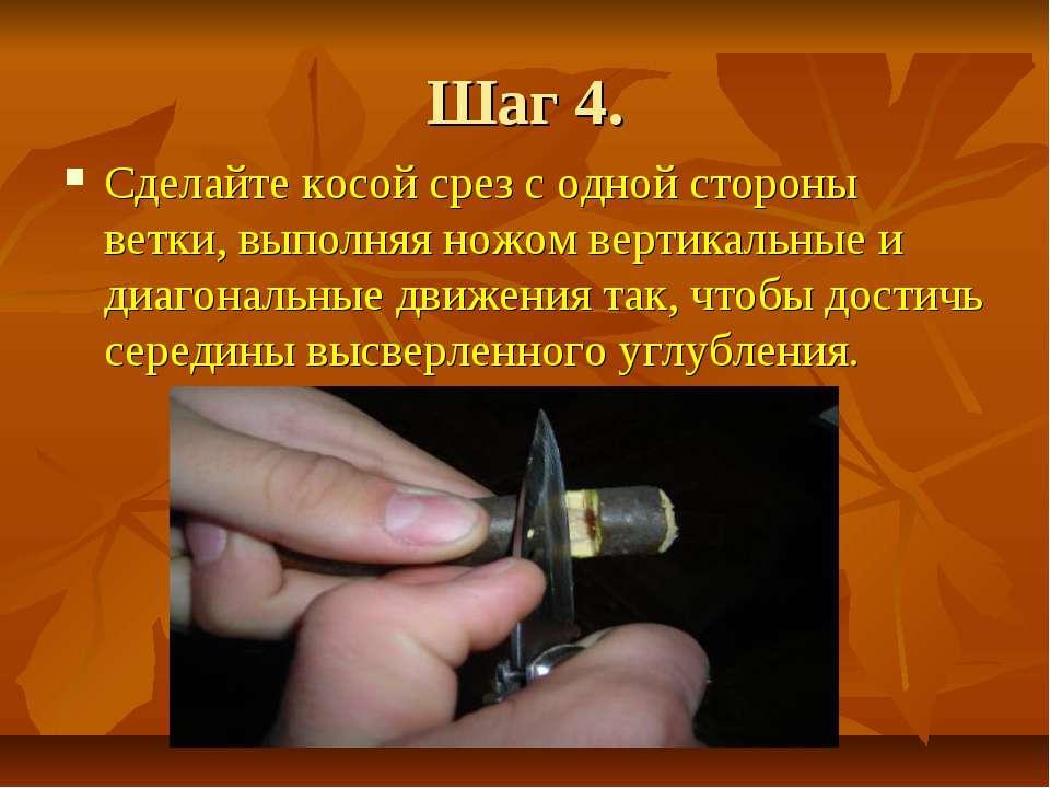 Шаг 4. Сделайте косой срез с одной стороны ветки, выполняя ножом вертикальные...