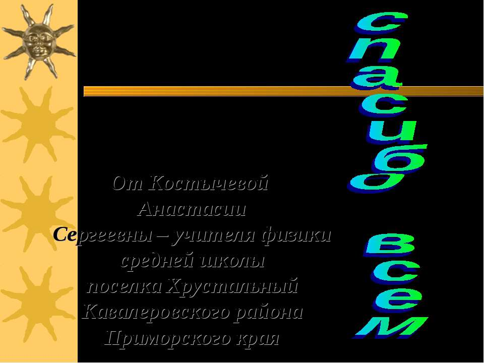 От Костычевой Анастасии Сергеевны – учителя физики средней школы поселка Хрус...