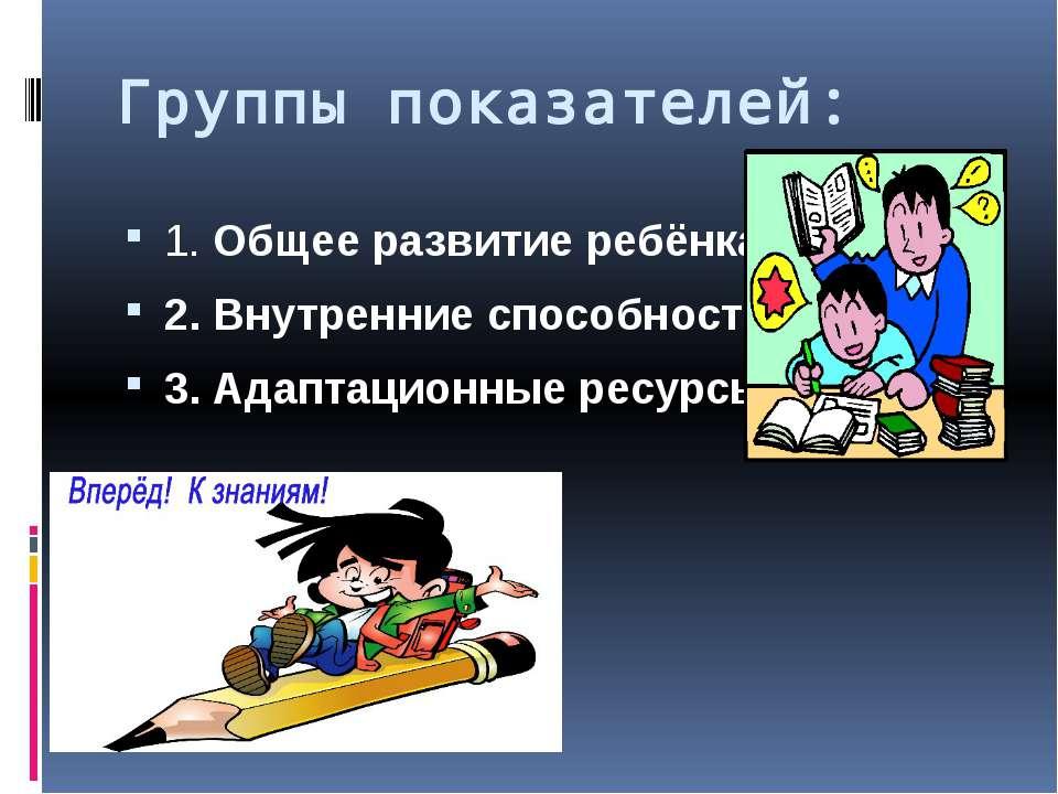 Группы показателей: 1. Общее развитие ребёнка 2. Внутренние способности 3. Ад...