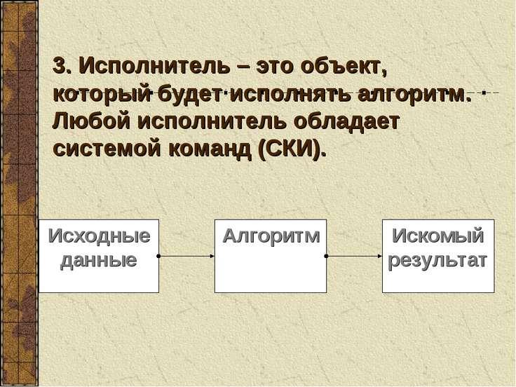 3. Исполнитель – это объект, который будет исполнять алгоритм. Любой исполнит...