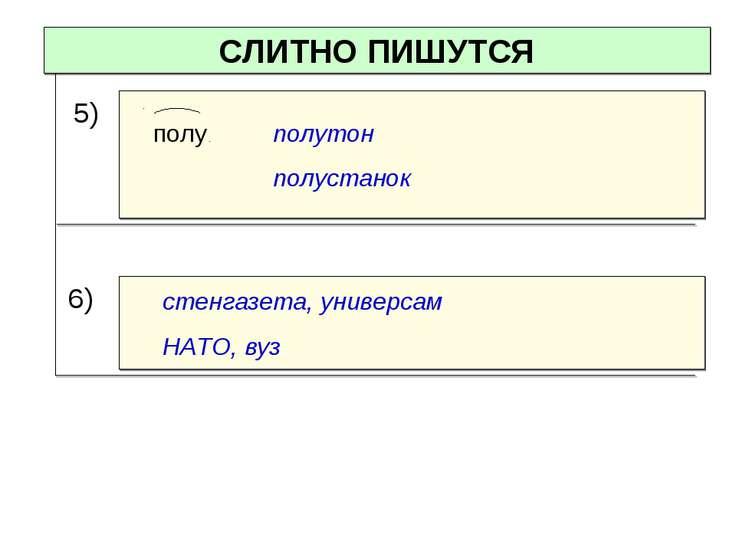 СЛИТНО ПИШУТСЯ стенгазета, универсам НАТО, вуз 5) полу полутон полустанок 6)