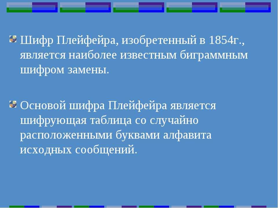 Шифр Плейфейра, изобретенный в 1854г., является наиболее известным биграммным...
