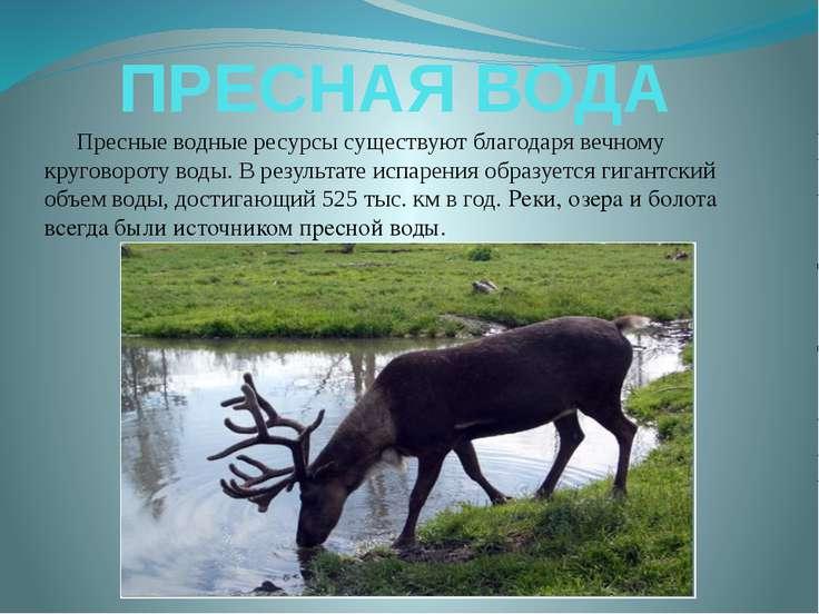 ПРЕСНАЯ ВОДА Пресные водные ресурсы существуют благодаря вечному круговороту ...