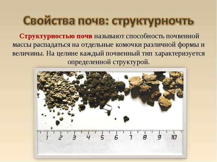Структурностью почв называют способность почвенной массы распадаться на отдел...