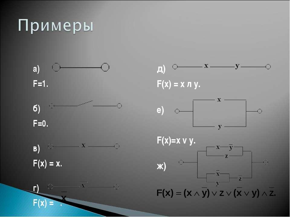 a)  F=1. б)  F=0. в)  F(x) = x. г)  F(x) = . д)  F(x) = x л y. е)  F...
