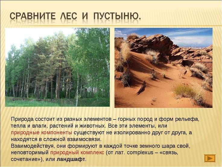 Природа состоит из разных элементов – горных пород и форм рельефа, тепла и ...