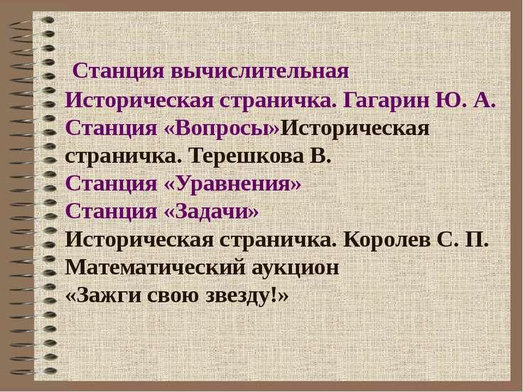 Станция вычислительная Историческая страничка. Гагарин Ю. А. Станция «Вопросы...