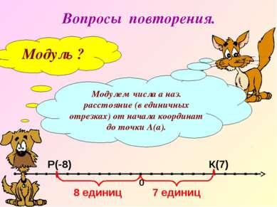 Вопросы повторения. Модуль ? Модулем числа а наз. расстояние (в единичных отр...